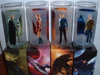 Star Trek Glasses Set Kirk Spock Uhura Nero in Box