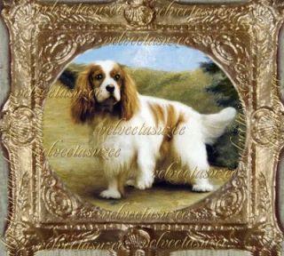 Cavalier King Charles Spaniel Dog Dollhouse Picture Art