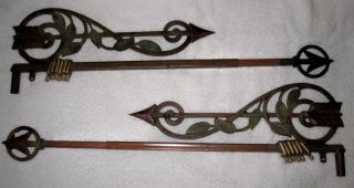 Kirsch Art Nouveau Swing Arm Curtain Rod Pair