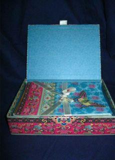 KEEPSAKE BOX PUNCH STUDIO KIRSHNER BUTTERFLY SET 20 BLANK NOTE CARDS