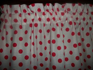 White Red Polka dot fabric kitchen curtain Valance cotton bedroom