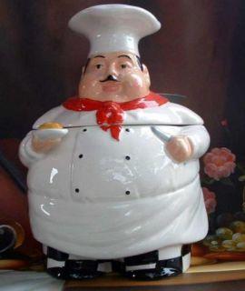 Bistro Fat Chef Cookie Jar Ceramic Kitchen Decor New