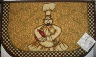 Fat Chef Italian Bistro Kitchen Mat Slice Rug Brown Border