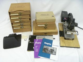 KINGSLEY STAMP MACHINE M 101 MULTI LINE PROFESSIONAL SET W/ TYPE SETS