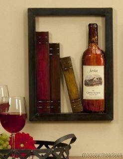Cut Out RED WINE PLAQUE w/ Books Kitchen Wall Decor Accent PIcture Art