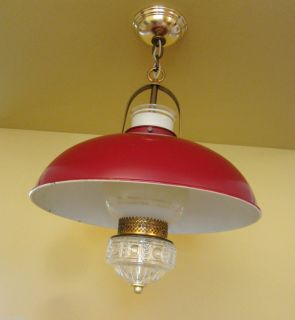 Lighting Antique 1940s Lightolier Red Kitchen Ceiling Light