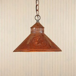 Light in Rustic Tin w Stars Primitive Kitchen Ceiling Light