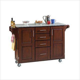 Kitchen Island Cart Cherry Cabinets Grey Granite Top
