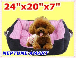 24x20x7 Pink Pet Soft Bed Warm Cat Dog House Pad Nest Mat W/Pillow NIB