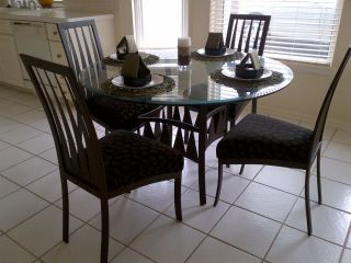 Kitchen Table Set   Round Glass Table with bronze metal base and 4
