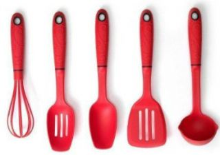 Norpro Mini Cooking Serving Utensils Whisk 5 PC Set Red