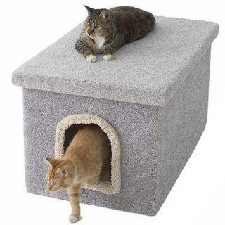 Cat Litter Box Pet Dome Condos Hidden Place Carpet Wood Pet Supplies