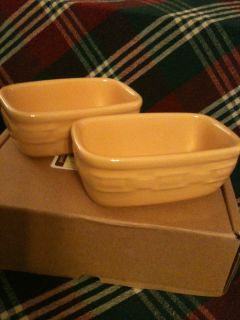Longaberger Woven Traditions Pottery Butternut Dash Bowls set of 2 New
