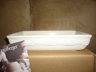 Longaberger Woven Traditions Pottery Ivory Rectangular Bowl  Rare  New