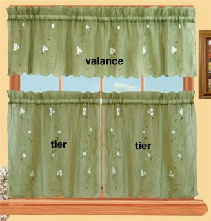 Daisy Kitchen Curtain Valance 24 Tiers 3pcs Sage Green New