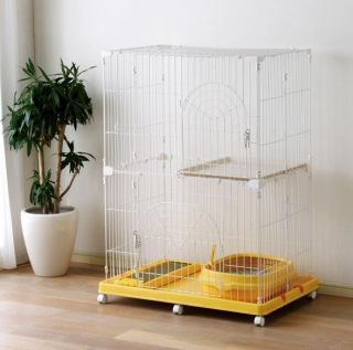 Animal Cage Cat Tower Cat Condo 2 Tier Cat Cage PEC 902 Yellow