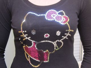 New Hello Kitty Kat Fairy Wings Sequin Long Sleeve Tshirt Sizes s M L