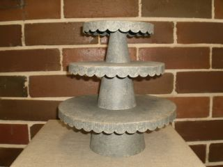 Shabby French Country Chic Tin Scalloped Cake Cupcake Stands Set 2 or