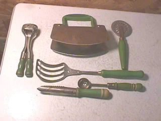 Old Green Handle Kitchen Utensils