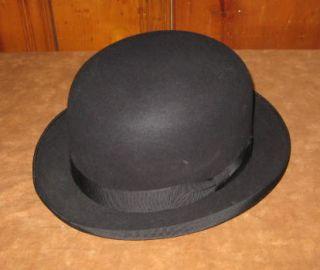 Mans Vintage Knox Superfine Black Felt Bowler Hat 7 1 8 Derby
