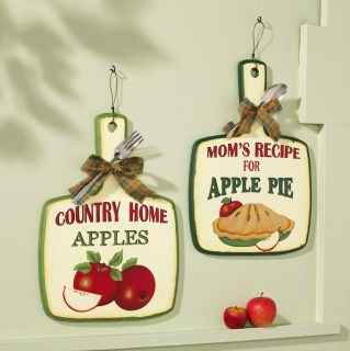Country Red Mom Apple Pie Recipe Spoon Fork Kitchen Wall Decor Art