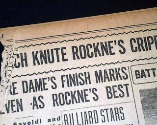 Knute Rockne Notre Dame Fighting Irish Last NCAA Football Game in 1930