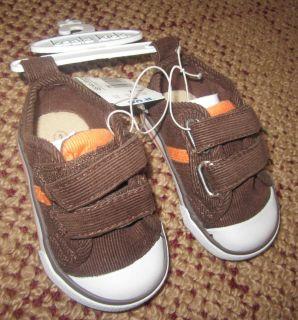 Baby Boy Koala Kids Brown Orange Corduroy Velcro Shoes Sz 2 $17 Retail