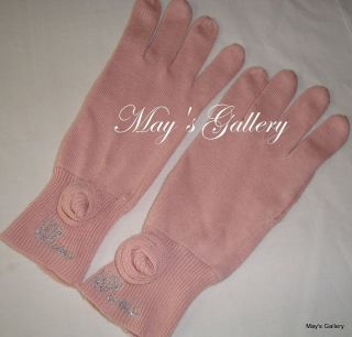 Guess Knit Gloves Glove Hand Warmer Pink Flower