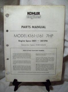 Kohler Parts Manual Model K161 L161 7HP SPEC2801 281298