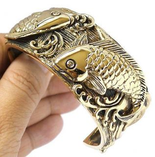 LUCKY KOI CARP FISH GOLD BRASS BIG BANGLE BRACELET JAPAN JEWELRY NEW