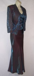 KM COLLECTIONS Teal Taffeta Mother of Bride Formal Gown Dress & Jacket