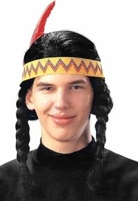 Mens Indian Wig Halloween Holiday Costume Party