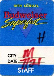 Budweiser Superfest 1989 Backstage Pass Kool Moe Dee