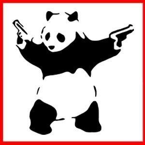 Banksy Panda Pistols Guns Graffiti Stencil T Shirt
