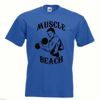 Muscle Beach Gym Retro T Shirt Lots of Colours Muscle Powerhouse Golds