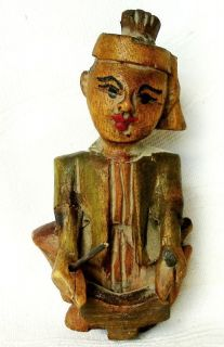 Old Vintage Tibet Tibetan Wood Carved Doll Figurine