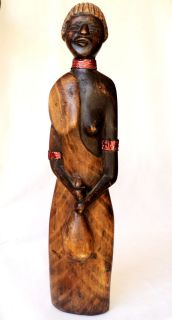Native Art from Peru Wood Carved Latin American Indian Woman