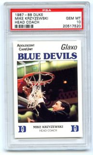 Pop 1 PSA 10 1987 88 Glaxo Mike Krzyzewski Duke Blue Devils Coach K