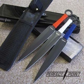 of 3 8 1 2 PATRIOTIC Red White Blue KUNIA NARUTO THROWING KNIFE SET PP