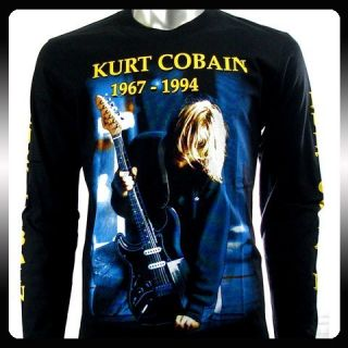 Nirvana Kurt Cobain Rock Biker Long Sleeve T Shirt Sz M Men