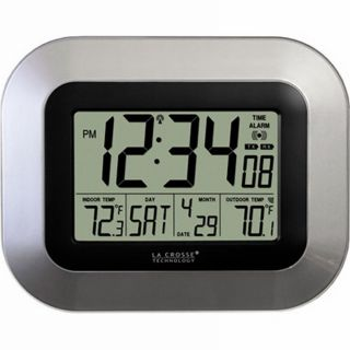 La Crosse Technology Atomic Digital Wall Clock with Date and Temp