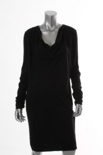 Jones New York NEW Black Solid Cowl Neck Long Sleeve Sweaterdress L