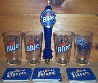 Labatt Blue Tap Handle Keg Marker 4 Beer Pint Glasses Coasters New
