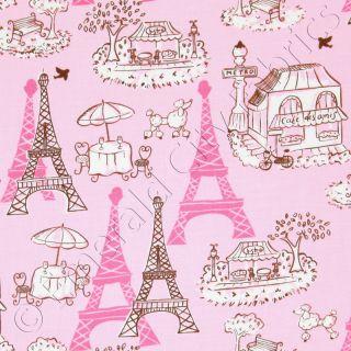 Robert Kaufman Vive La France Paris Eiffel Tower Promenade Garden Pink