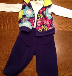 Carters Baby Infant Girls Fleece Outfit Floral Vest 6 9 Months
