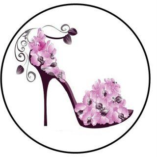 High Heel Shoe N Flowers 11 1 Sticker Seal Labels