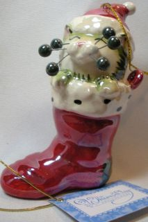 Whimsiclay Amy Lacombe Navidad Ornament Cat Figurine