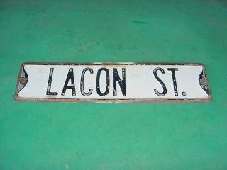 1950s Vintage Lacon Street Old Embossed Steel Street Road Sign