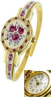 Andre Mouche Ladies Jewelry Watch with Hand Painted Cover Crystal Rose