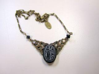 Links Brass Cameo Austrian Crystal Necklace Lake Katrine NY